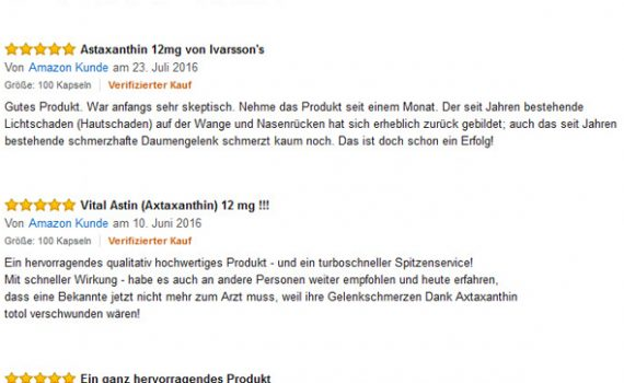 Astaxanthin 12 mg Rezensionen aus Amazon Shop
